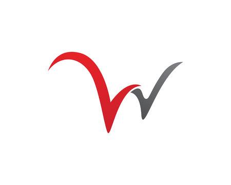 W 文字ロゴのテンプレート  イラスト・ベクター素材