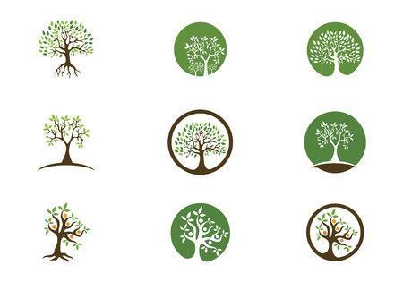 Concepto de icono de árbol de un árbol estilizado con letra Ilustración de vector