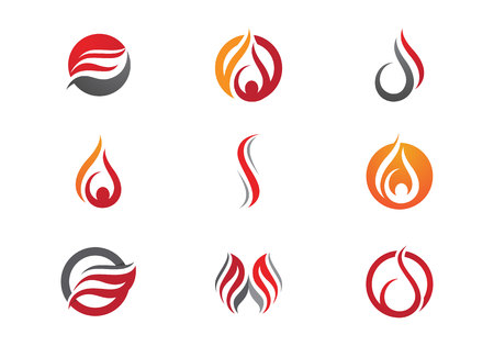 flammable: Fire flame Logo Template