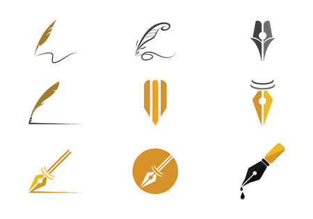 Feather pen Logo Vector Illustration