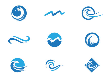Water Wave Icona Logo Template Archivio Fotografico - 67435601