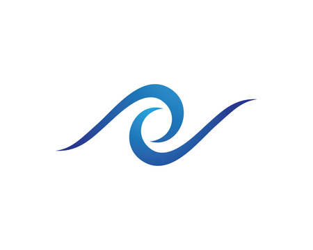 windsurf: Simple illustration of a flat icon of a water Wave symbol and icon Logo Template vector. Vectores