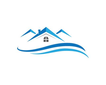 Inmobiliaria, Inmobiliario y Construcción Diseño de logotipo para la muestra de la empresa de negocios. Logo vector Foto de archivo - 73831669