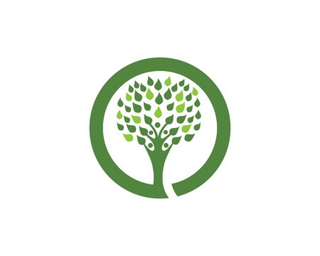 globe logo: Tree leaf vector logo design, eco-friendly concept Illustration