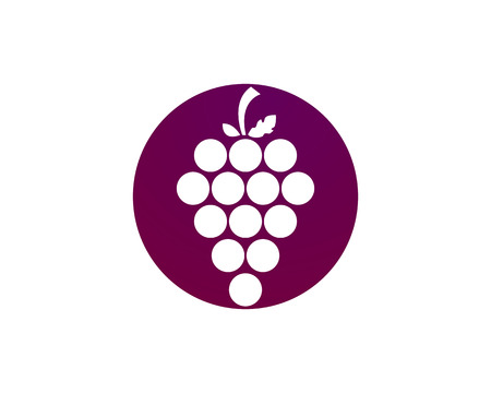 食品アプリとウェブサイトのリーフのアイコンとワインのブドウの房