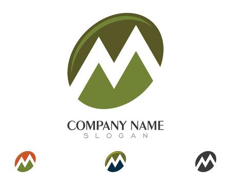 M Letter Mountain Logo Illustration