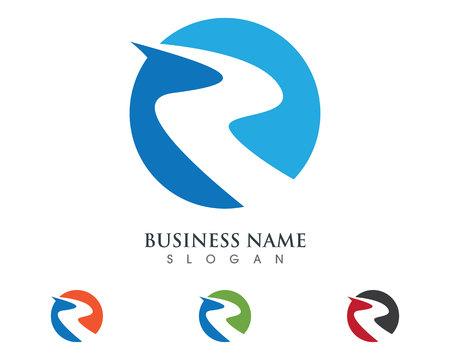 R Letter River Logo Template