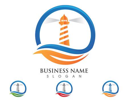 Latarnia morska logo szablonu wektor ikonę