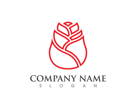 Rose flower logo for company template Illustration