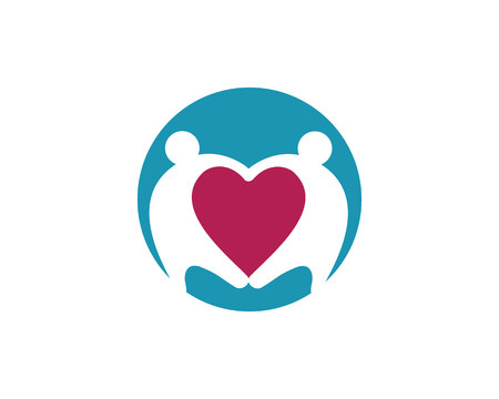 heart puzzle: Adoption and community care Logo template vector icon