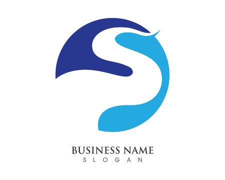 S Letter River Logo Templat