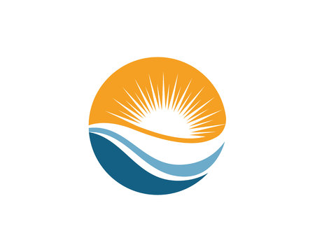 sun s: Water Wave Logo Template Illustration