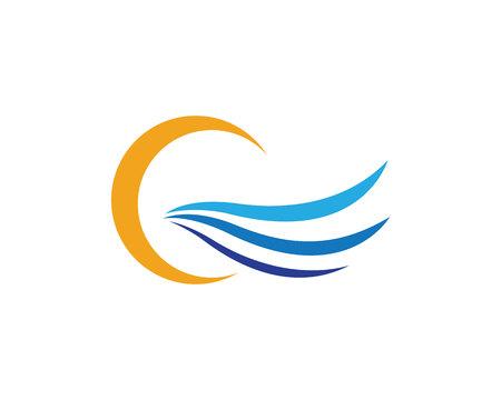 windsurf: Plantilla de logotipo de la ola de agua Vectores