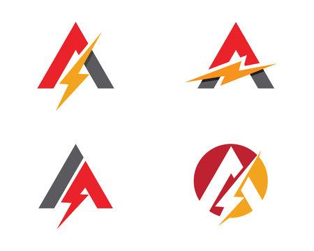 A Letter Lightning Logo Template vector