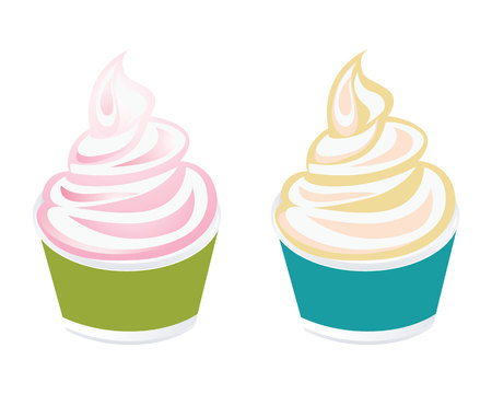 Frozen yogurt or cup of ice cream icon Illustration