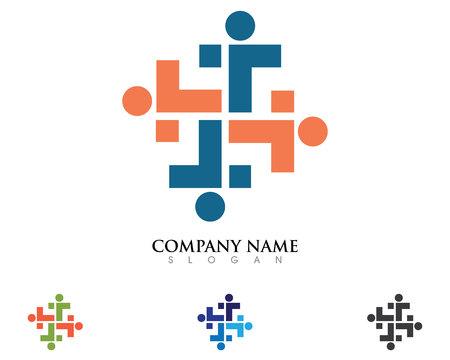 Soutien communautaire Logo personnes aidant Banque d'images - 85325532