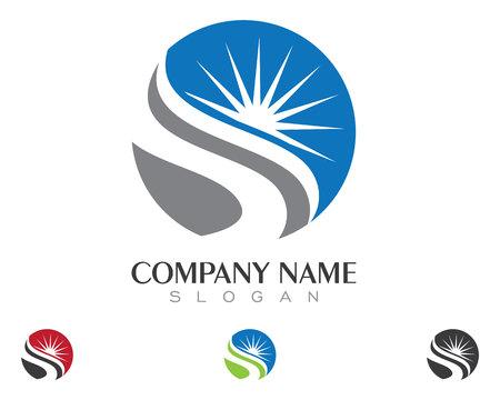 Vector Icon Logo Template Sun over horizon Çizim