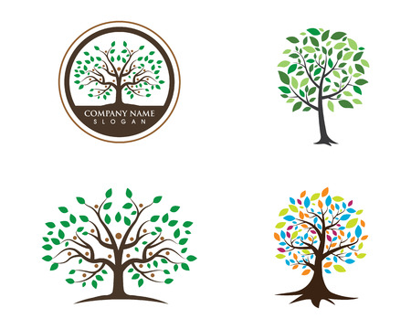 Eco Tree Leaf Logo Template illustration.
