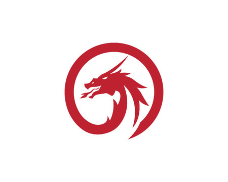 Head dragon flat color logo template vector illustration. Illustration