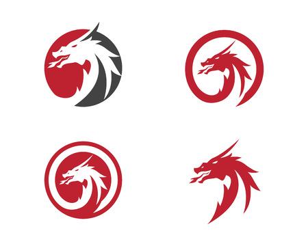 Head dragon flat color logo template vector illustration Illustration