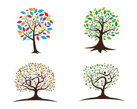 child care: family tree symbol icon logo design template