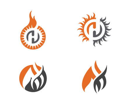 to warn: Fire flame Logo Template