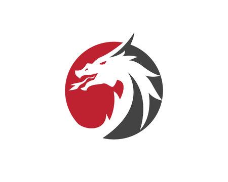 頭ドラゴン単色ロゴ テンプレート ベクトル図