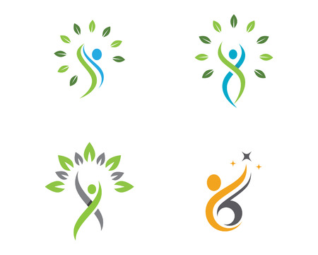 Human character logo sign Health care logo sign Illustration
