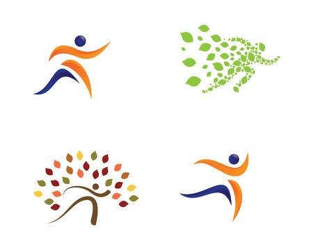 leaf logo: Healthy Life concept colorful logo designs