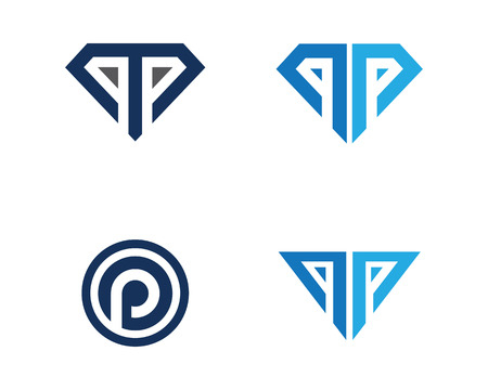 p Letter with Diamond Logo Template