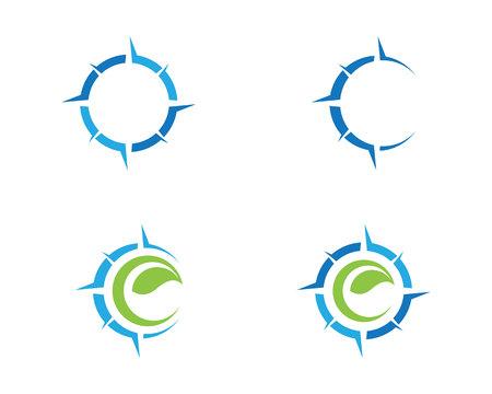 나침반 로고 템플릿 벡터 아이콘 일러스트 디자인