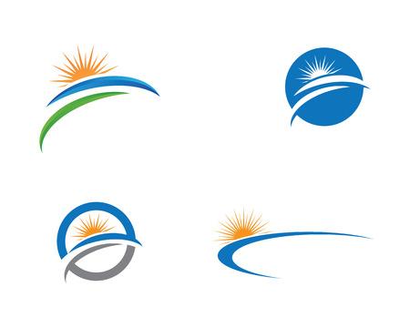 Vector Icon Logo Vorlage Sun über Horizont