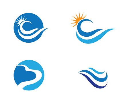 diving board: Water Wave symbol and icon Logo Template vector
