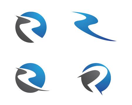 R Letter River Logo Template Reklamní fotografie - 81941772
