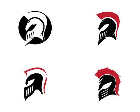 spartan helmet logo template vector icon royalty free cliparts