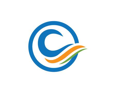 windsurf: Ilustración de la plantilla del logotipo de la onda de agua. Vectores