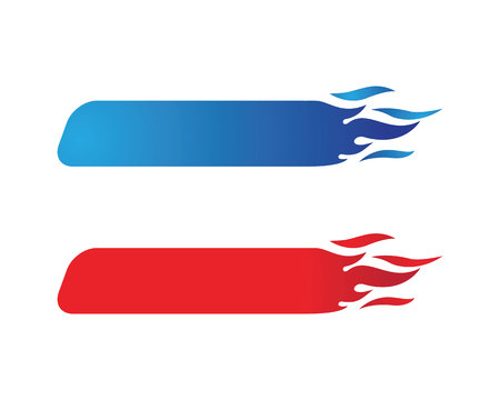 Fire flame in red and blue, Logo Template Illustration