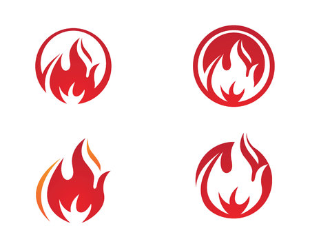 Fire red and white color flame Logo Template