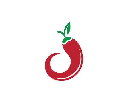 Red hot chili logo template,isolated in white