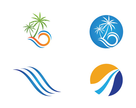 Water Wave Logo Template, abstract design illustration