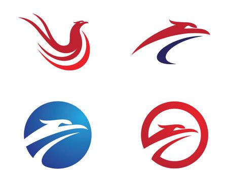 Falcon Logo Template icon design illustration in red and blue color