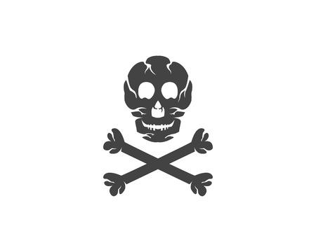 beware: Skull logo template vector icon illustration design Illustration