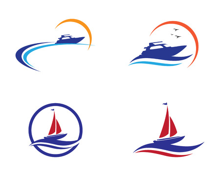 Cruise ship Logo template vector icon design