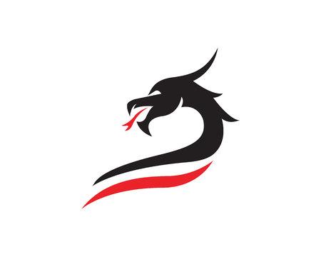 Head dragon flat color logo template vector illustration Vettoriali