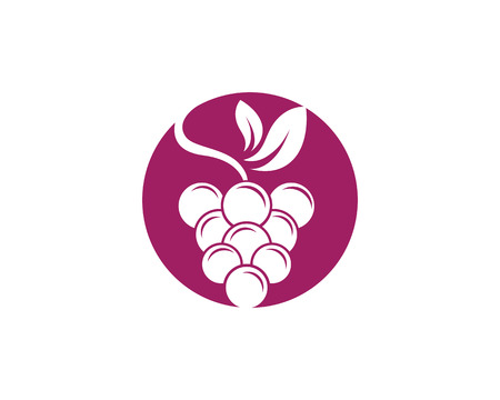 concord: Bunch of wine grapes with leaf icon for food apps and websites