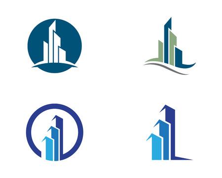 city background: Building  logo vector illustration design