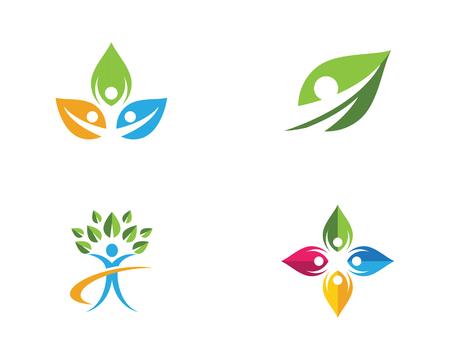 Human character logo sign Health care logo sign Vectores