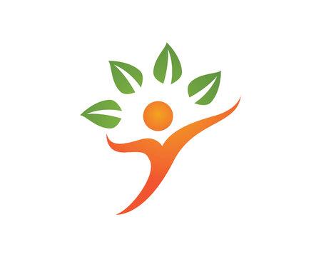 leaf logo: Human character logo sign Health care logo sign. Nature logo sign. Green life logo sign. Vector logo template.