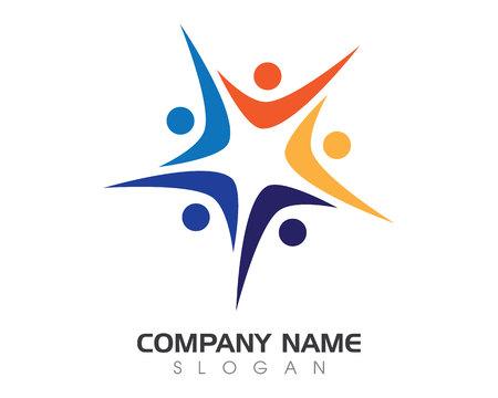 Icona di vettore di logo di cura di comunità e comunità Archivio Fotografico - 88046753