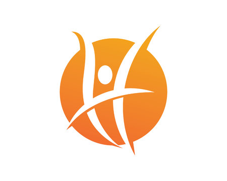 leaf logo: Fun people Healthy Life Logo template vector icon